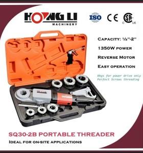 Hongli sq30-2b portable pipe roscadora maquinaria/pipe threader kits