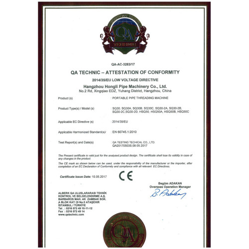 CE untuk Threaders Pipa Portabel