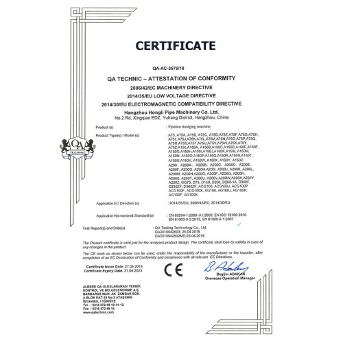 CE Certificate for A75 and A150 Drain Cleaning Machines