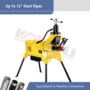 Heavy Duty Roll Groover with Strong Base for 2 inch to 12 inch Steel Pipe Grooving YG12F