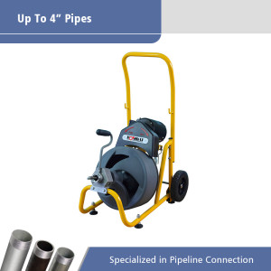 """Drum Drain Cleaning Machine for  1 1/4""""-4""""(32-100mm) Drain Pipes AG100"""