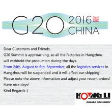 G20 Summit Holiday Notice