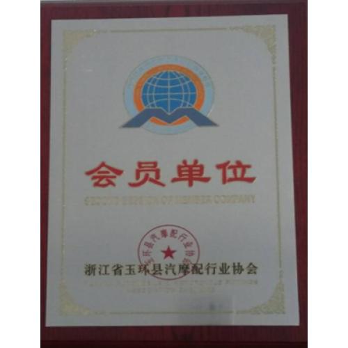 Member of Automobile & Motocycle Fittings Association in Yuhuan, Zhejiang