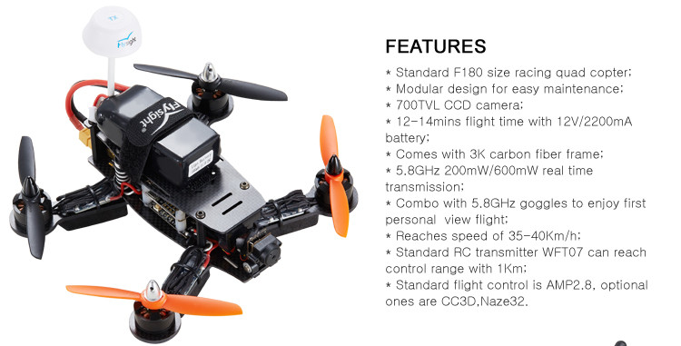 Standard F180 size racing quad copter