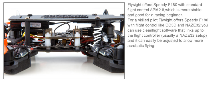 Flysight offers Speedy F180 with standard flight control APM2.8,which is more stable and good for a racing beginner.