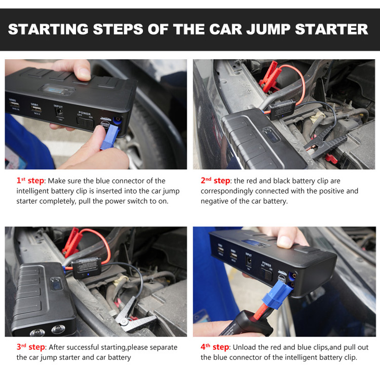 Starting steps of the car jump starter