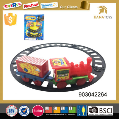 Cute plastic toy train set with railway track