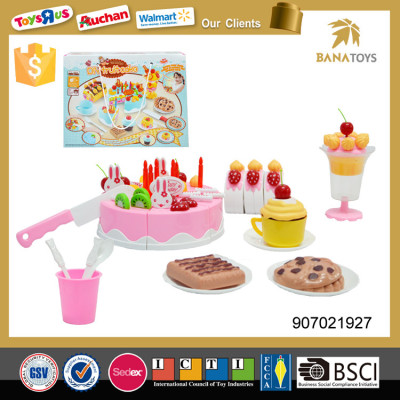 Party pretend play food diy toys set fruit cake