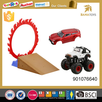New games kid play car toy with fire ring