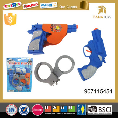 Police equipment play set plastic gun and handcuff