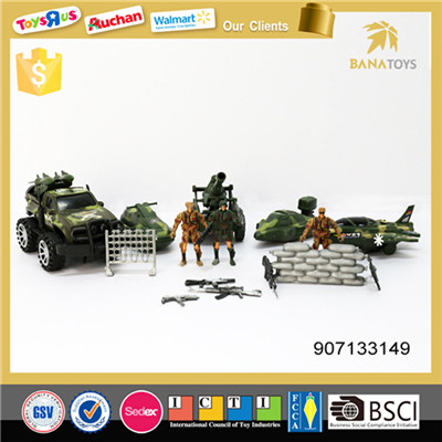 Military toys play set with figher jet and gun