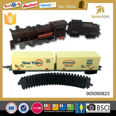 Railway model toy electric train with light and music
