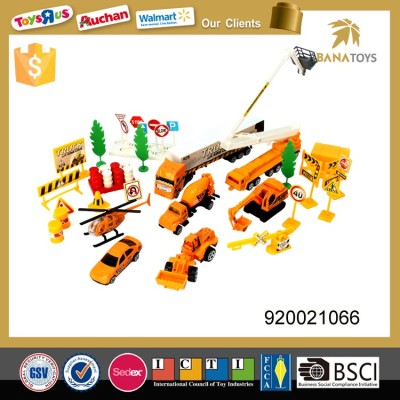 Building construction play set excavator transportation truck