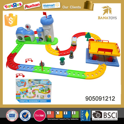 Electric toy race track with aid and gas station