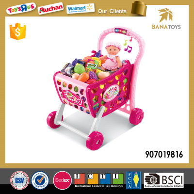 Supermarket pretend toys kids foldable shopping cart