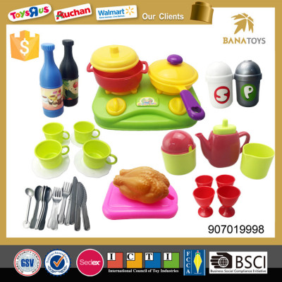 Pretend funny children play kitchen cooking play set