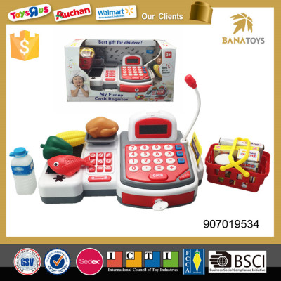 Funny supermarket kid pretend play cash register machine