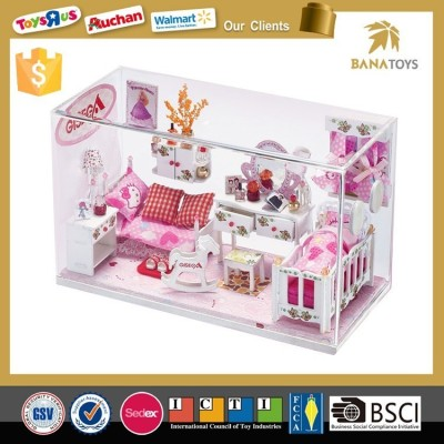 ornamental value wooden house collection toy gift with sticker DIY