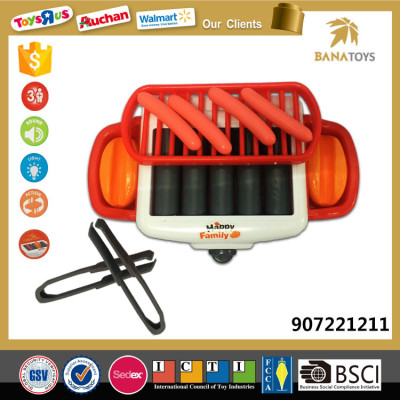 Child toy barbecue tool play set with light