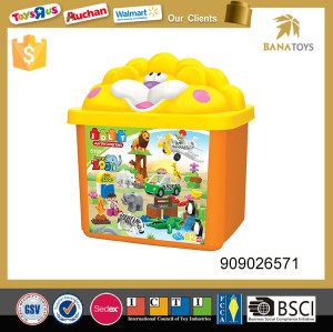Plastic toy animal zoo set Assembled puzzle game toys storage box