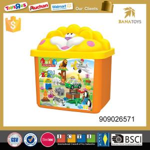 Plastic toy animal zoo set Assembled puzzle game toys storage box