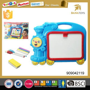 Plastic train shape kids drawing board with pen set easy to wipe