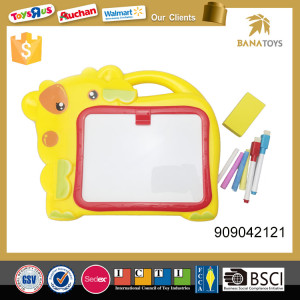 Plastic cartoon cow shape kids drawing board with pen set with plate rub