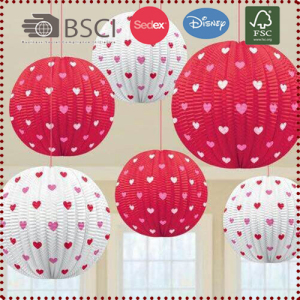 Red & White Heart Patterned Hanging Paper Lantern