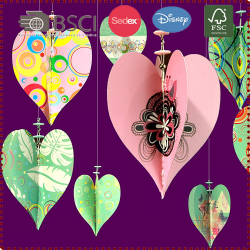 3-D Paper & Beaded Heart Hanging Decoration