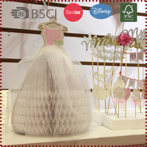 Honeycomb Wedding Dress Table Centerpiece