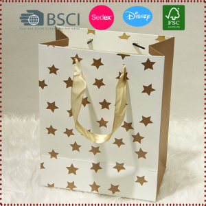 Gold Star Paper Gift Bags
