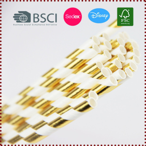 25pcs Striped Gold Paper Drinking Straws