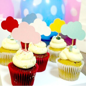 30pcs Mixed Colors Cloud Shape CupCake Toppers