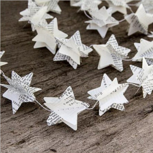 1.75m Recycled Newspaper Star Garland