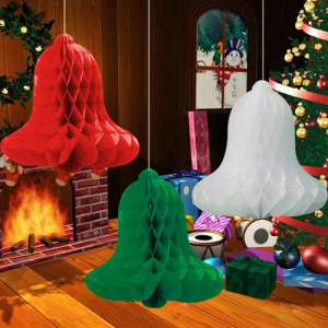 5pcs Decorative Jingle Bell Paper Honeycomb