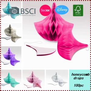 5pcs Rain Drops Tissue Paper Honeycomb