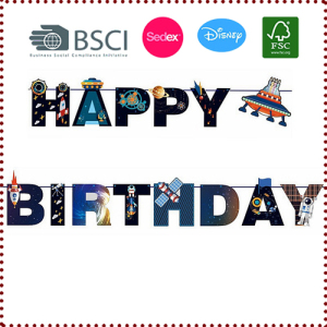 Outer Space UFO Alien Happy Birthday Banner