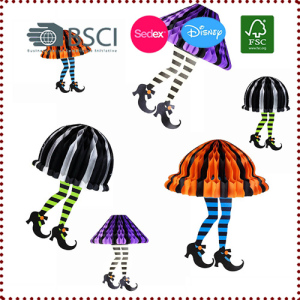 Whimsical Halloween Honeycomb Witches with Feet Socks and Black Boots