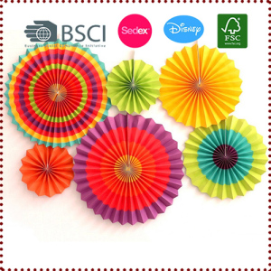 Pleated Printed Waves Paper Fans Kit
