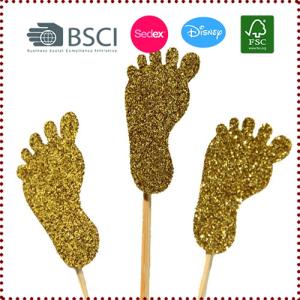 3pcs Gold Glitter Baby Feet Cupcake Topper