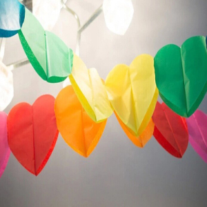 3m Rainbow Heart-Shaped Party Garland