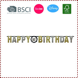 DIY Glitter Gold& Silver Happy Birthday Letter Banner