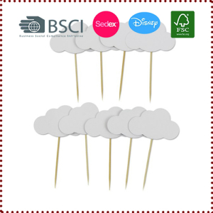 3pcs White Cloud Cupcake Topper
