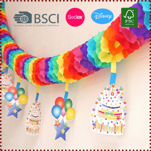 3m Rainbow Flower Tissue Paper Garland