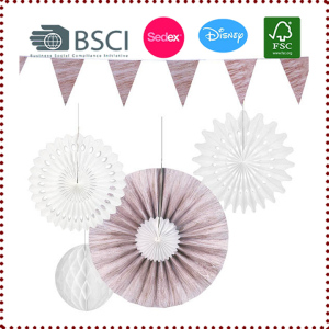 Wood Grain Hanging Paper Fan Decoration Set
