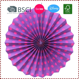 35cm Polka Dots Hanging Paper Fan