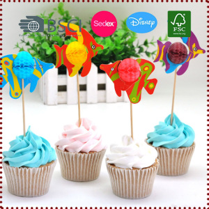10pcs Ocean Fish Honeycomb Cupcake Toppers