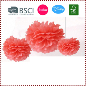 Coral Color 9pcs 25cm/20cm/15cm Mixed Sizes Tissue Paper Pom Poms