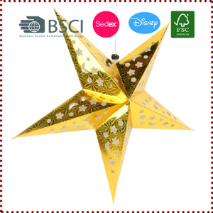 45CM 5-Point Foil Cut-out Laser Hanging Paper Star Lantern