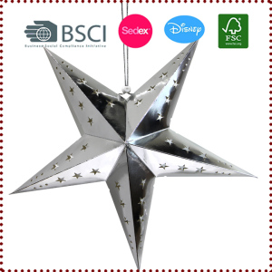 5-Point Foil Cut-out Silver Hanging Paper Star Lantern
